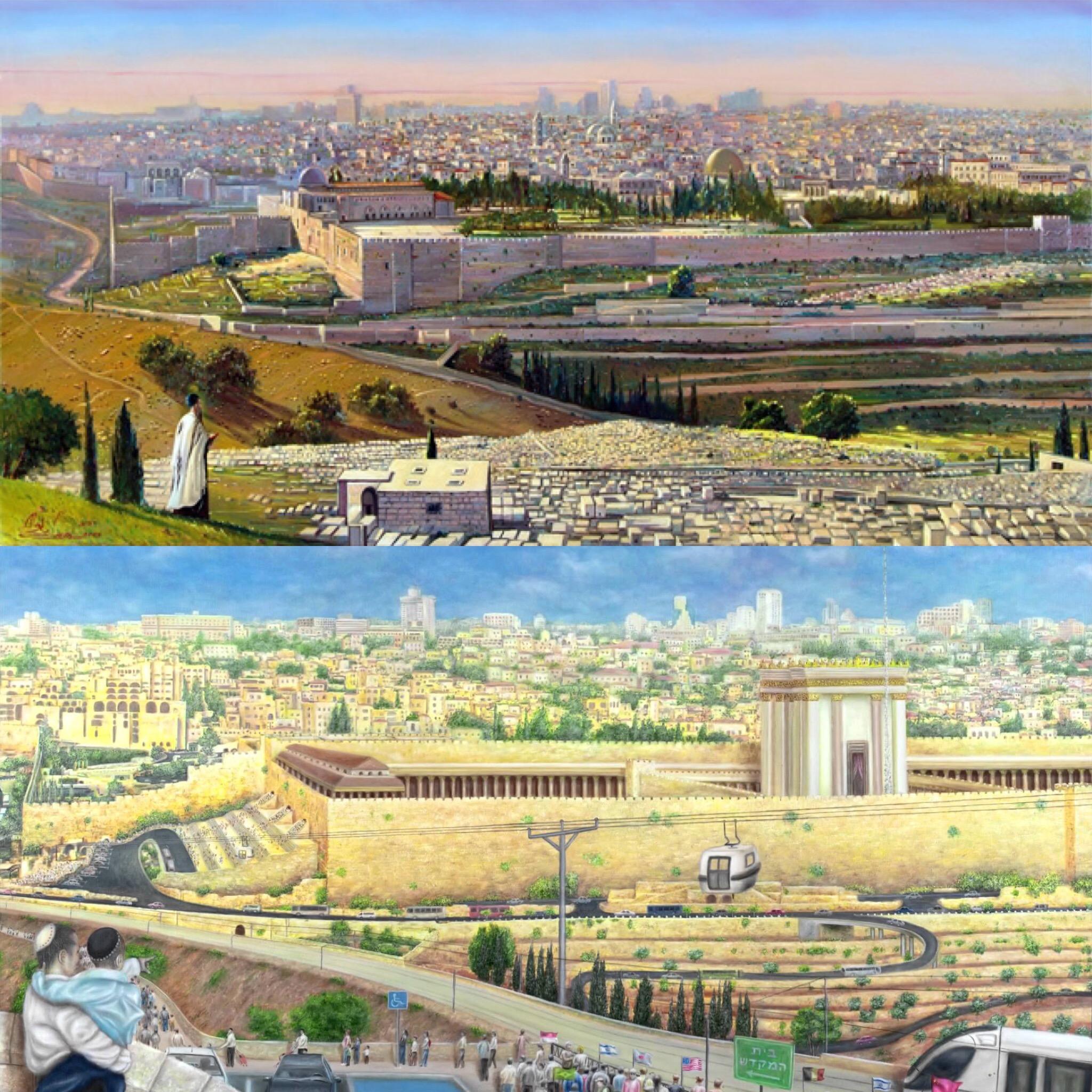 Gambaran Masjidil Aqsa saat ini dan Bait Suci Ketiga yang dicita-citakan Zionis